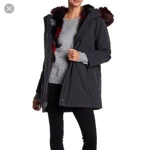 DIANE VON FURSTENBERG Faux Fur Trim Hooded Coat